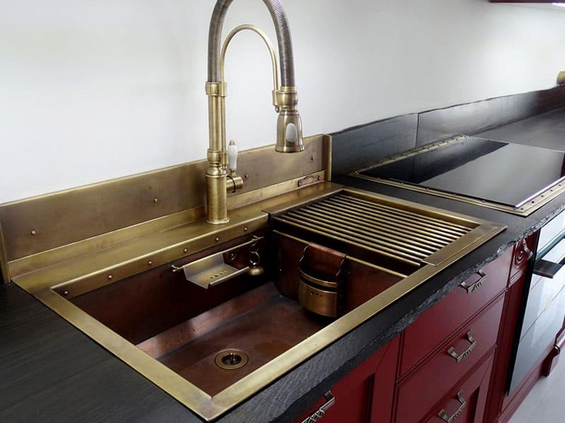 Copper Double Sink Kitchen
